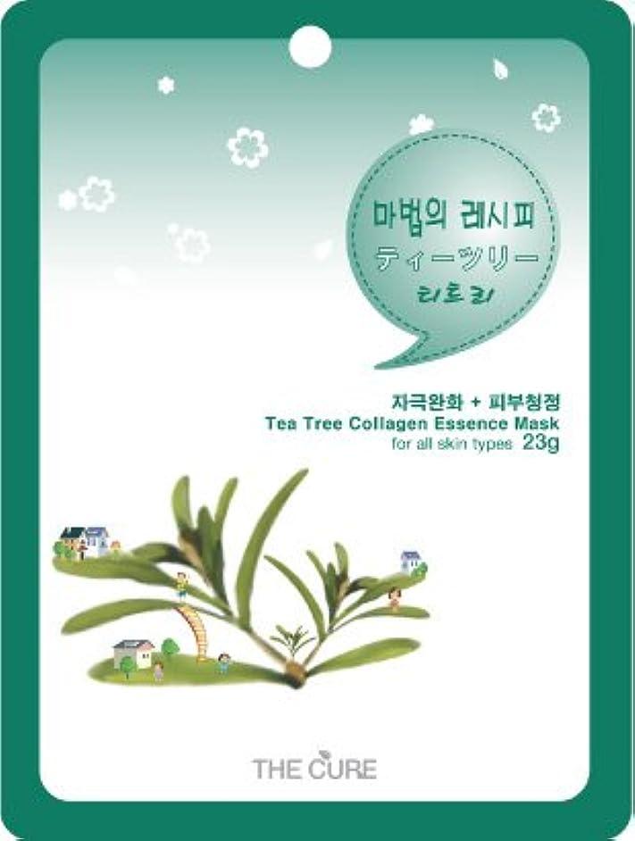 ティーツリー コラーゲン エッセンス マスク THE CURE シート パック 10枚セット 韓国 コスメ 乾燥肌 オイリー肌 混合肌