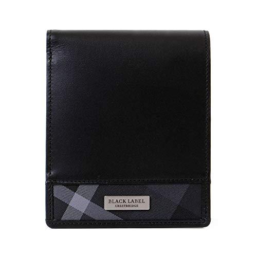 8490494904de [名入れ可] BLACK LABEL CRESTBRIDGE ブラックレーベル クレストブリッジ チェック 二つ折り 財布 レザー ショップバッグ付き  51210-120 (名入れなし, ブラック)