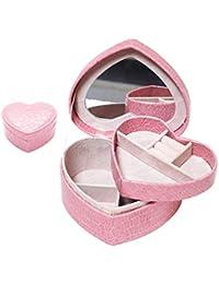 Amycute ジュエリーボックス ハート形 アクセサリーケース 可愛い ネックレス宝石箱 鏡付き 指輪 アクセサリー 旅行 ネックレス 携帯用 鰐皮紋様 プレゼント (Pink)