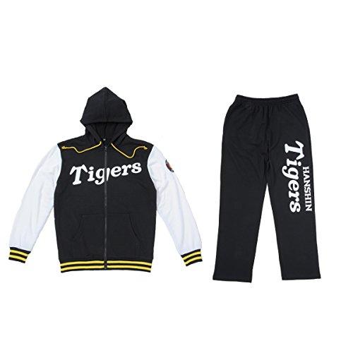 阪神タイガース スウェットSETUP スウェット セットアップ 野球 球団 上下 セット (S, ブラック×ホワイト)