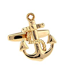 Anchor Rudder Fishing Navy Sailor Boat Sea Gold Silver Cufflinks