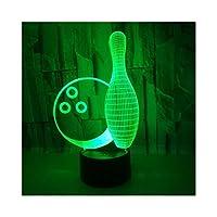 ボウリングLEDイリュージョンライト、3D光学ベッドサイドテーブルナイトライト照明子供用ランプスリープ照明7色タッチボタン装飾テーブルランプ1