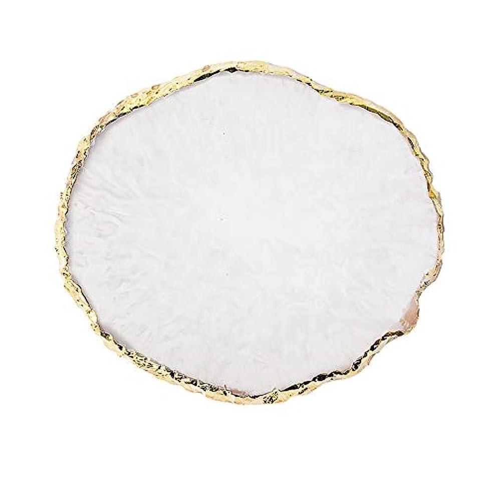 シニスシネウィ石化するPoonikuu 丸め ネイルパレット、天然樹脂ストーンネイル アートプレート、ネイルポリッシュプレゼンテーションプレート6色選べ