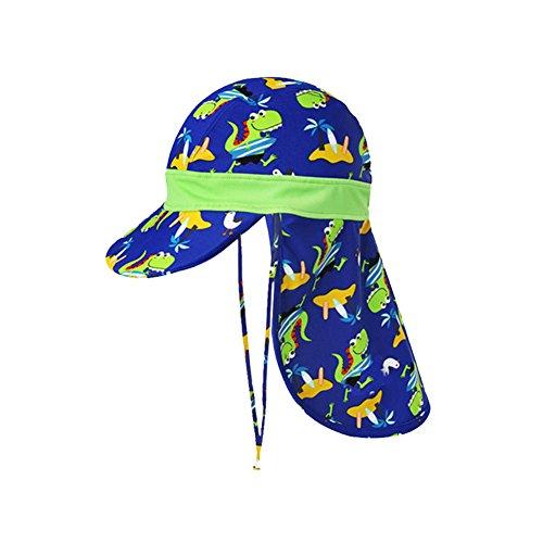 DJHbuy 子供帽子 水泳キャップ 恐竜デザイン 顔と首を守る キッズハット 日焼け予防 海遊び・水泳・旅行 1-12歳 44~52cm