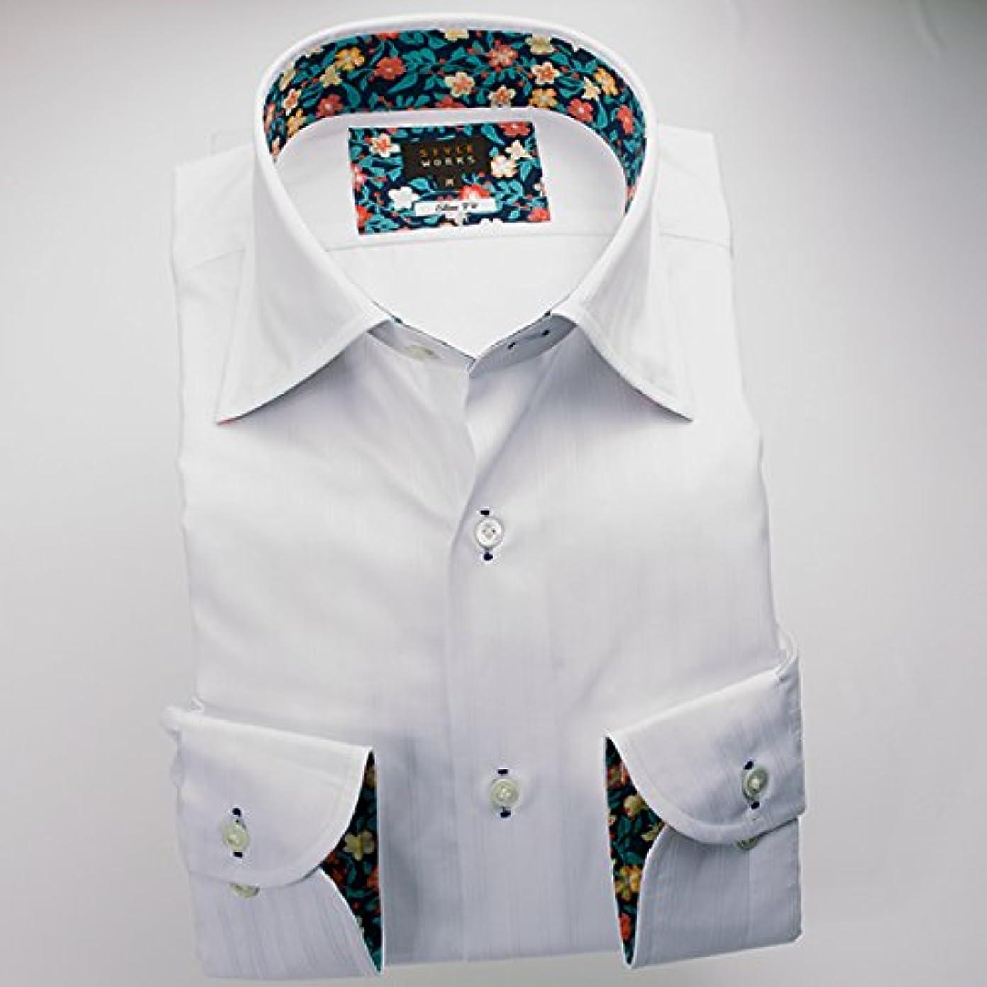 滞在オプショナルコンピューターゲームをプレイする(スタイルワークス) メンズ長袖ワイシャツ 白ワイドカラー ストライプ | 白/S