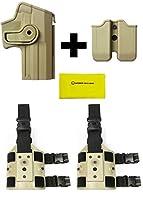 IMI Defense z2040mp04ダブルマガジンポーチ+ z1140回転ホルスターH & K HK Heckler & Koch USPフルサイズ( 9mm / .40) Right Hand、タン+ 2つのセットz2200ドロップ脚アタッチメント+ Ultimate Arms Gearクリーニングクロス