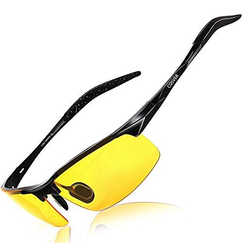 COSVER サングラス メンズ 偏光 レンズ UV400 紫外線カット 超軽量 スポーツサングラス/ 自転車/釣り/野球/テニス/スキー/ランニング/ゴルフ/ドライブ メガネCOSVER 偏光レンズ スポーツサングラス 超軽量 アルミニウム・マグネシウム合金 UV400 紫外線カット スポーツサングラス/ 自転車/釣り/野球/テニス/スキー/ランニング/ゴルフ/ドライブ 6色選択 (黄夜間視力)