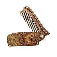 HEALIFTY 折り畳み式のビャクダンの櫛の帯電防止木の毛の櫛の人のための滑らかになる櫛