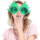 BESTOYARD クリスマスビッグメガネダンスパーティーメイク用品マスカレードパーティー用クリスマスツリーメガネ(グリーン)
