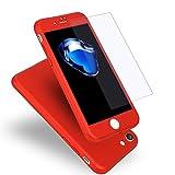 iPhone7 ケース 全面保護 強化ガラスフィルム 360度フルカバー 衝撃防止 アイフォン7 ケース おしゃれ 高級感 薄型 携帯カバー(レッド)