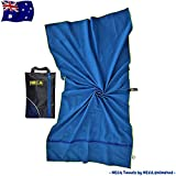 Microfiber Gym Towel - Quick Dry - Ultralight and Compact - 2 Large Zip Pockets - 160x80 cm - Snap Loop - with bonus eBook & Mesh Bag - Designed and Tested in Australia - Perfect for Gym, Yoga, Beach, Travel, Camping and Hiking - Great Mothers Day Gift - by Neca Towels