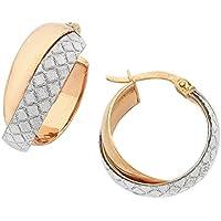 Bevilles 9ct Rose Gold Silver Infused Stardust Hoop Earrings