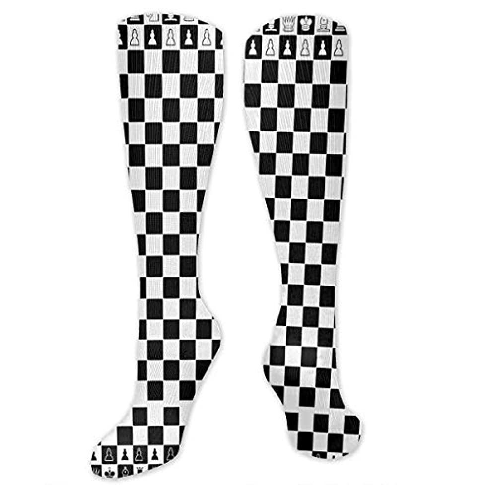 引き潮ノベルティカウンターパートQRRIYアスレチックソックス黒と白の正方形のチェス3 D圧縮ソックス男性女性ソックス長い乗組員ソックス
