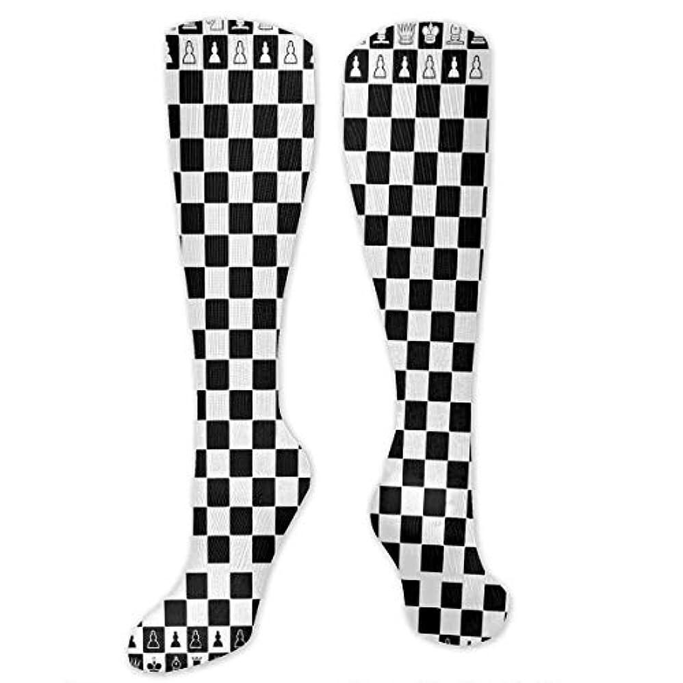 クリック前任者荷物QRRIYアスレチックソックス黒と白の正方形のチェス3 D圧縮ソックス男性女性ソックス長い乗組員ソックス