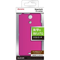 ELECOM Xperia A SO-04E用 シリコンケース ほこりが付きにくい ピンク 液晶保護フィルム付き PD-SO04ESCPN