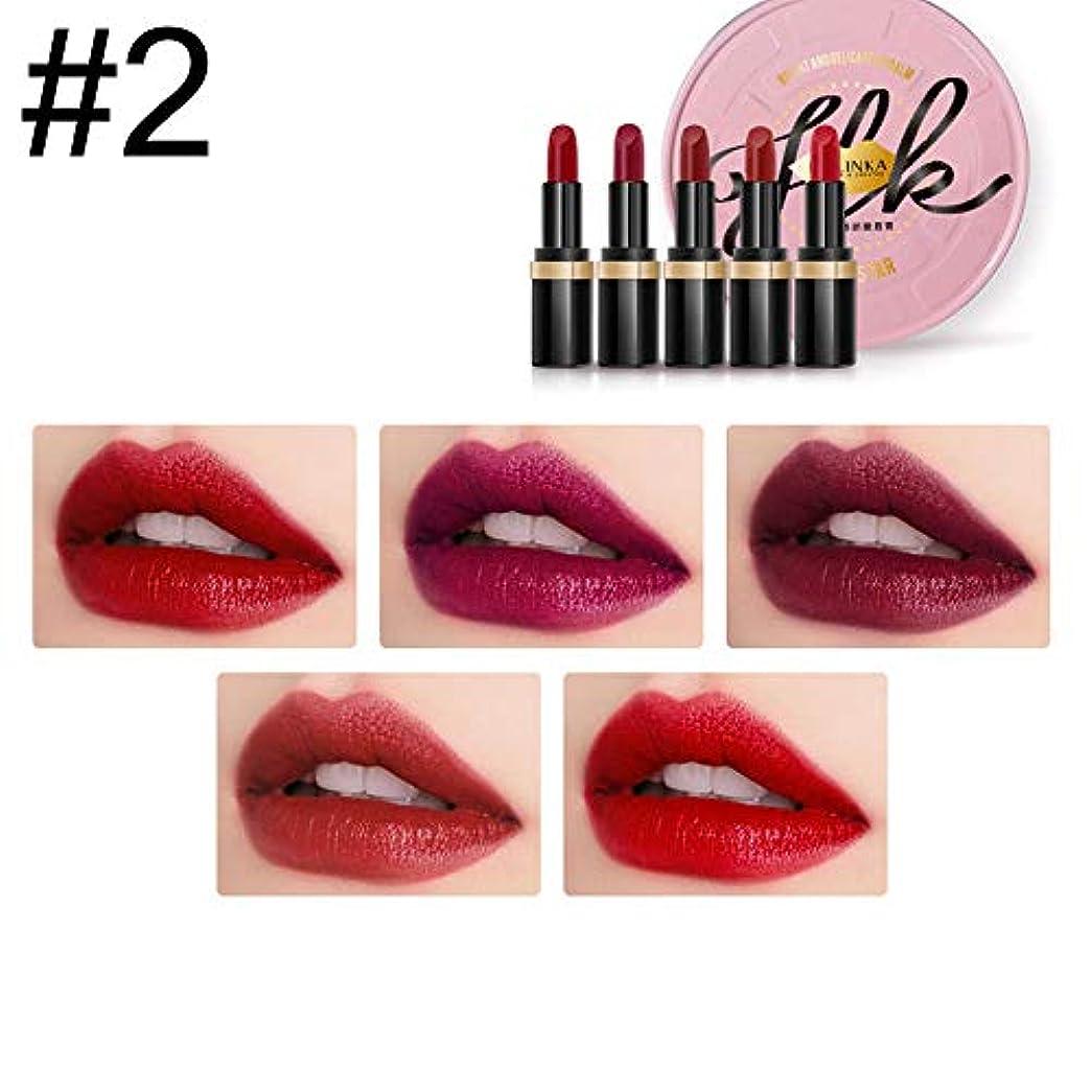 解釈するガードキャメル5ピース/セット口紅化粧品マット女性化粧セット保湿バームファッション防水セクシーな口紅 (2)