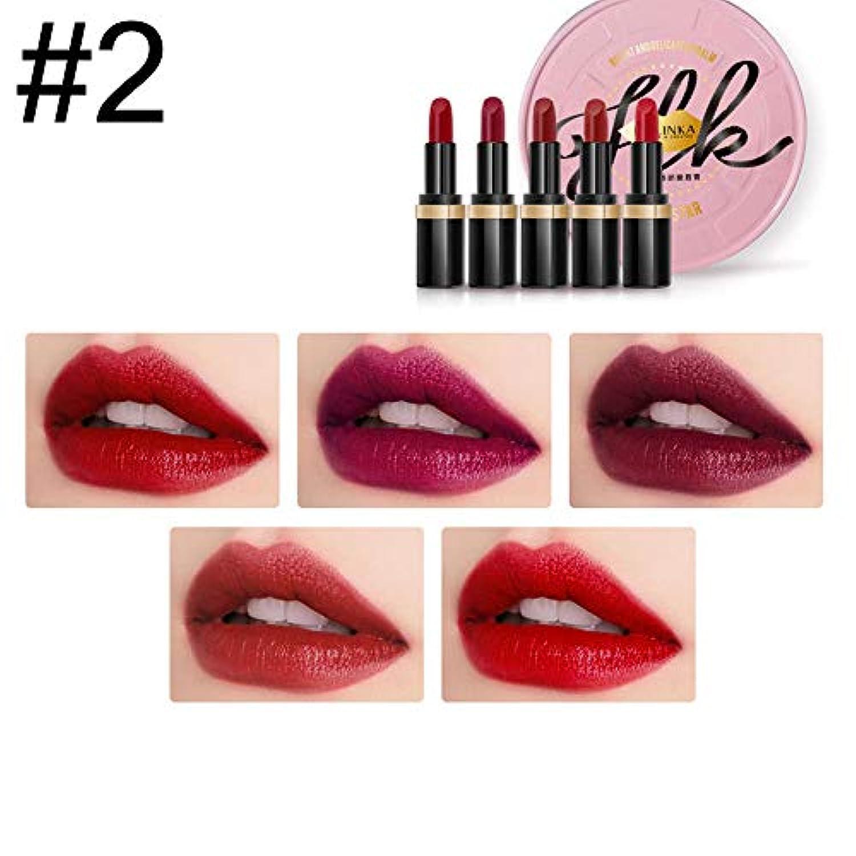 潤滑する錆び具体的に5ピース/セット口紅化粧品マット女性化粧セット保湿バームファッション防水セクシーな口紅 (2)