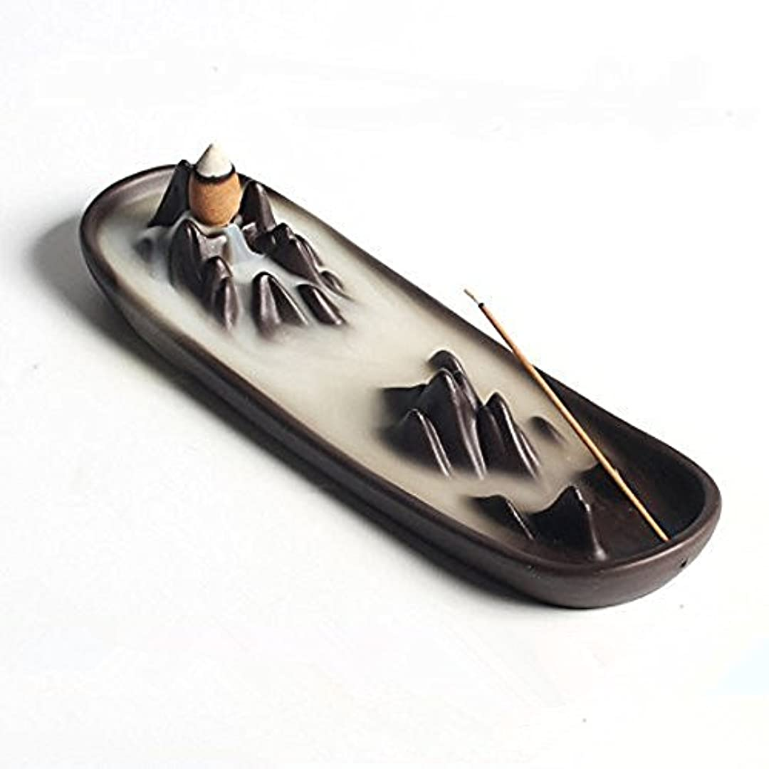 手段便宜手段Ceramic mountain peak Boat Style Multifunction Incense Burner Stick Backflow Incense Holder Clay Incense Ash Catcher...