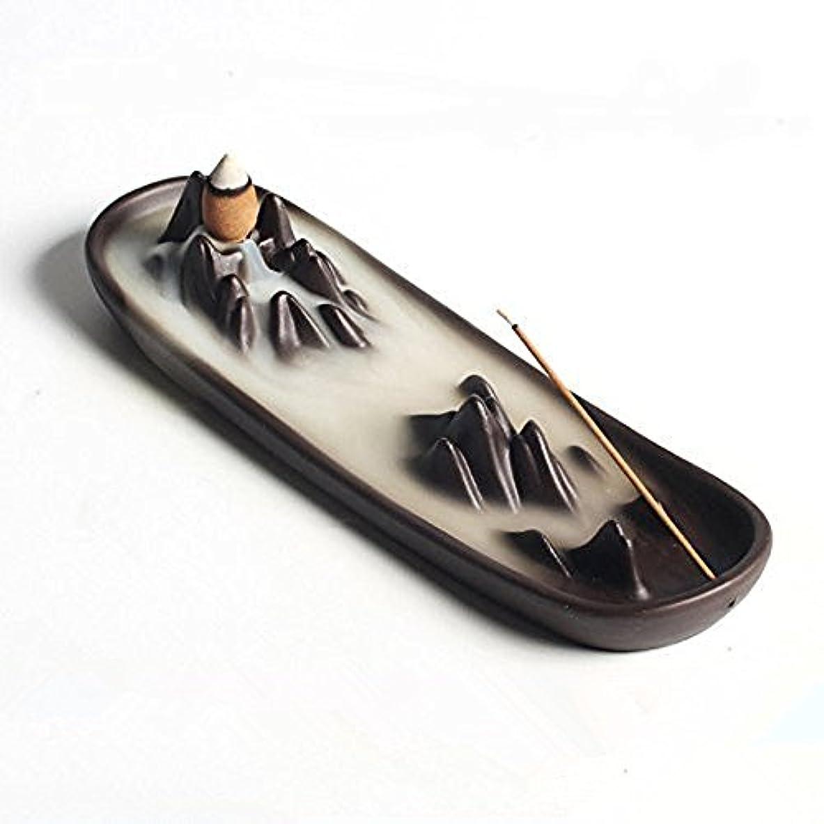 境界海軍正義Ceramic mountain peak Boat Style Multifunction Incense Burner Stick Backflow Incense Holder Clay Incense Ash Catcher...