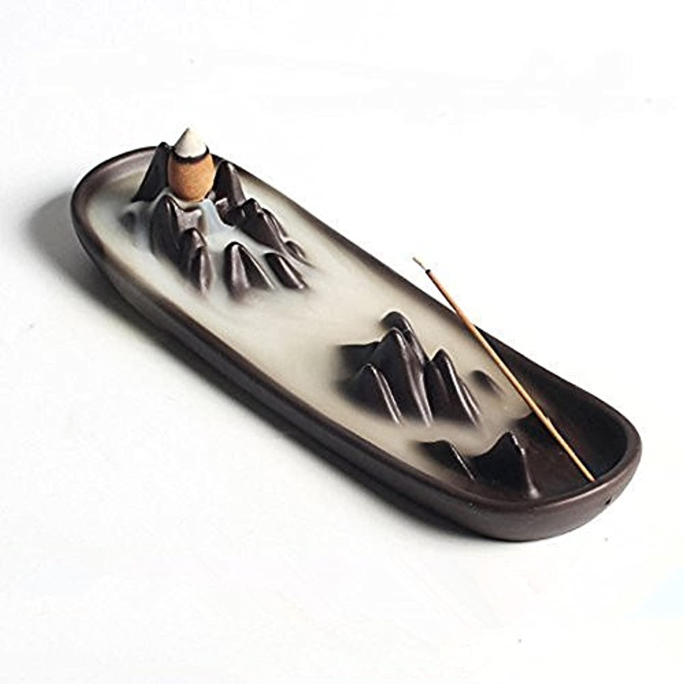 神秘釈義ギャロップCeramic mountain peak Boat Style Multifunction Incense Burner Stick Backflow Incense Holder Clay Incense Ash Catcher...
