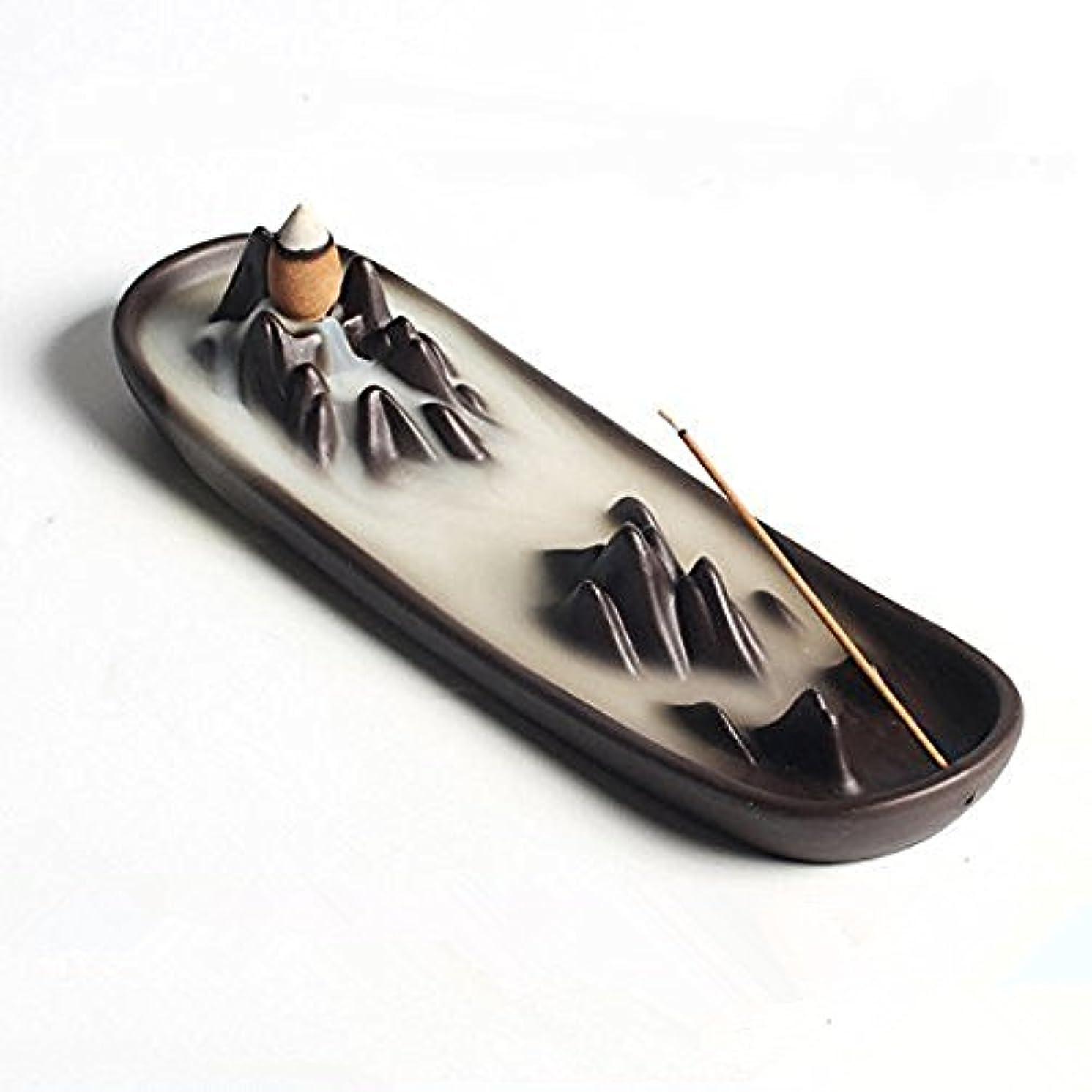 再現する拷問神聖Ceramic mountain peak Boat Style Multifunction Incense Burner Stick Backflow Incense Holder Clay Incense Ash Catcher...