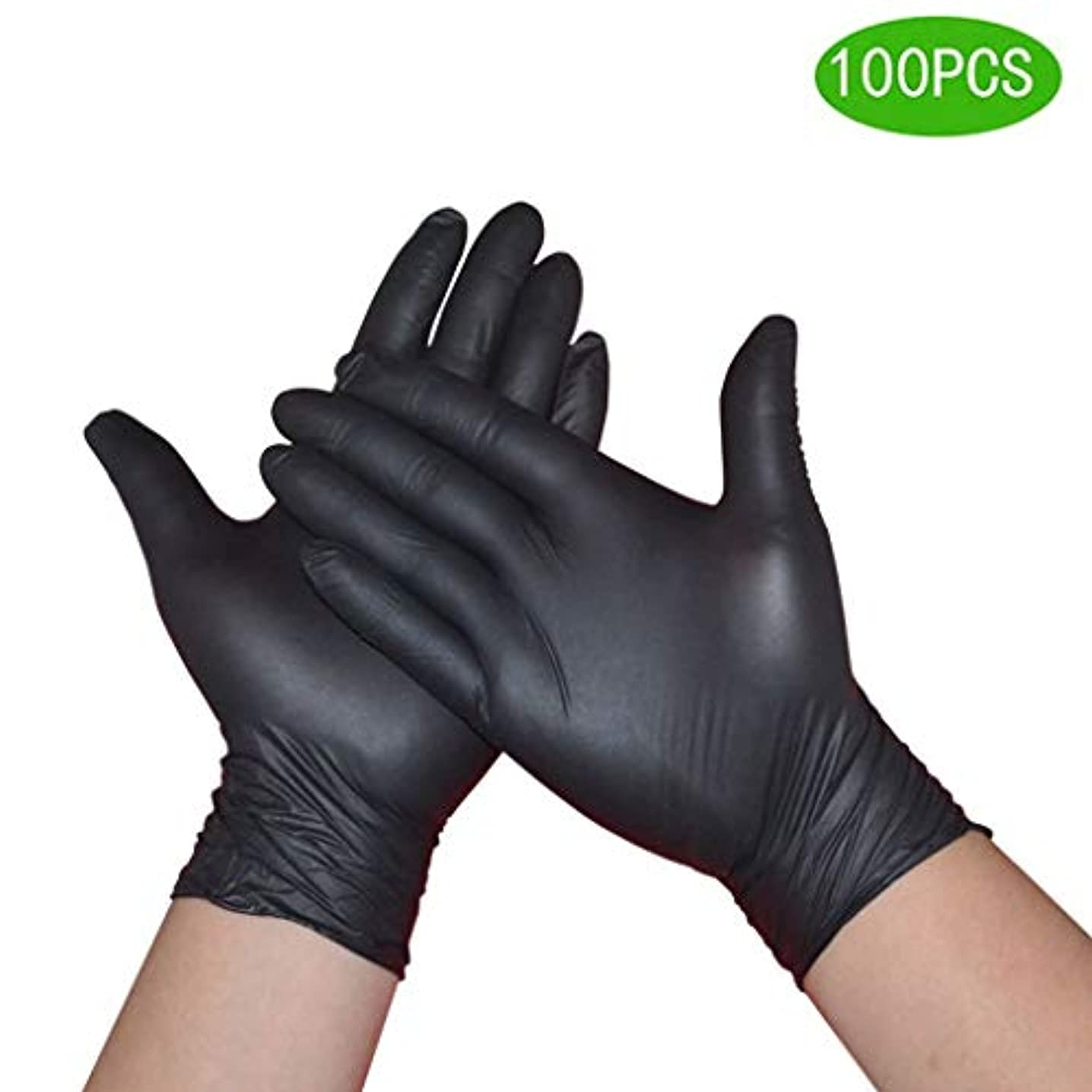 スクランブル要求マスクニトリルグローブ黒厚ラテックスフード防水帯電防止タトゥータトゥースタティック労働保険義務試験手袋|病院向けのプロフェッショナルグレード (Size : XL)