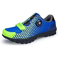 Cycling Shoes,Unisex Mountain Bike Shoes Microfiber mesh Breathable, wear-Resistant Road Biking Shoes,Blue,35