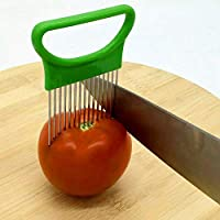 LUOWANXIU キッチン道具 ステンレス鋼野菜のオニオンカッターホルダーミートニードルキッチンツール キッチン用 (色 : Green)