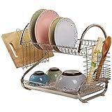 キッチン収納ラック - キッチンディッシュラックドレンラックドレンバスケットラック食器食器食器収納ラック家庭用二重層 ZHUXUM