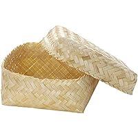 『竹』蓋付き小物入れ「15×15×7cm」/ナチュラル