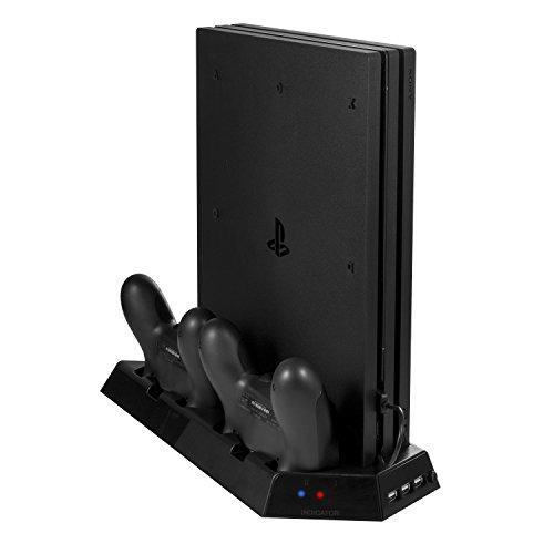 (ディヤード)DeyardPS4 PRO縦置きスタンド 薄型2in1コントローラー2台充電 USBハブ3ポート 冷却ファン付き(ブラック) PlayStation 4 PRO本体専用