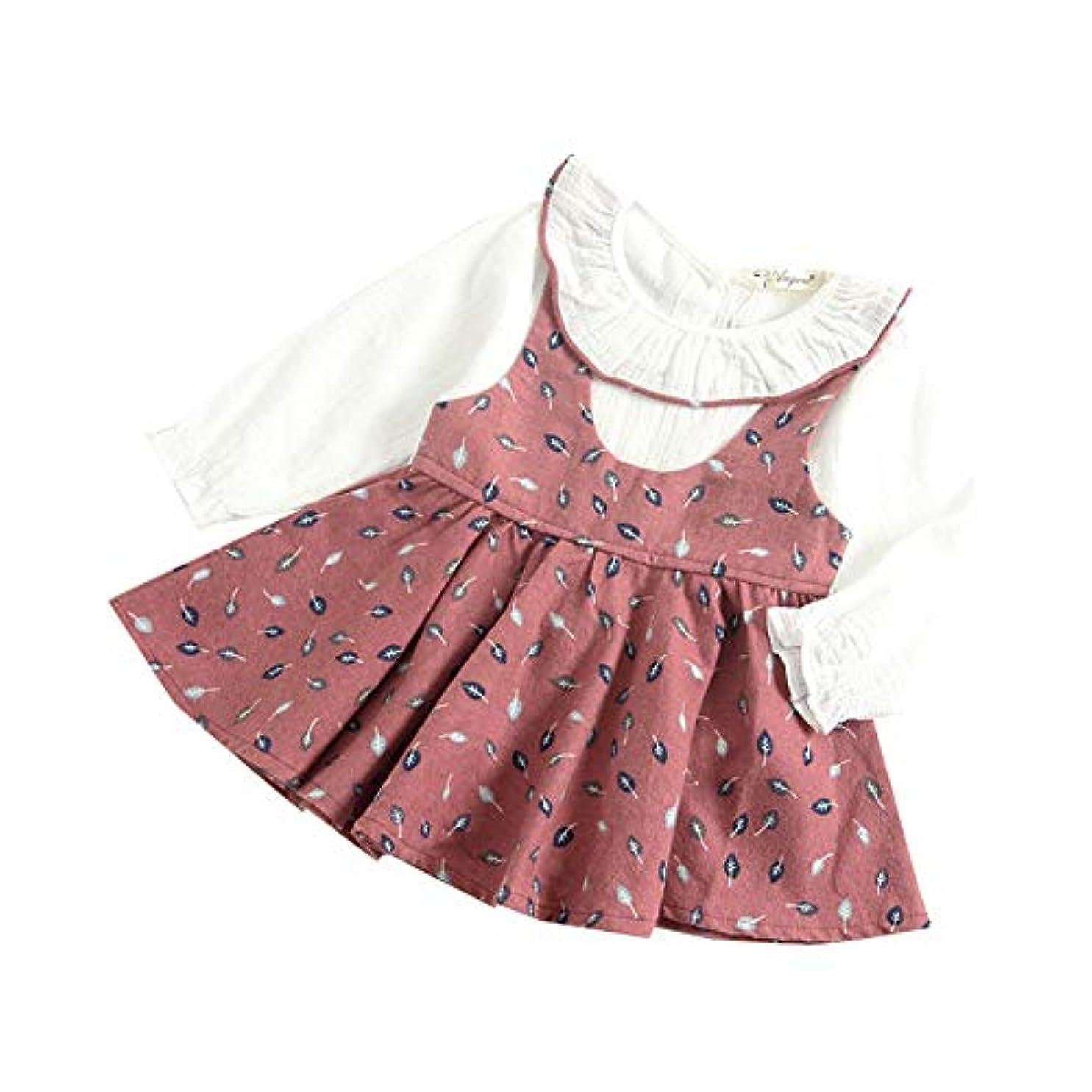 地球つかいます雇ったMornyray ベビー服 ワンピース ドレス 重ね着風 仮セット フリル 長袖 赤ちゃん コットン おしゃれ 総柄 女の子 幼児 0-3歳
