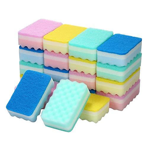 台所用 スポンジ キッチンスポンジ スポンジ たわし 洗う 磨く 使い分けができる 両面タイプ 20個 抗菌 食器・調理器具用