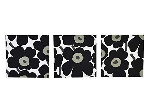 ファブリックパネル marimekko(マリメッコ)PIENI UNIKKO(ピエニウニッコ)ブラック セットパネル 33×33cm 3枚組