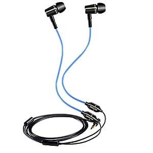 KINDEN イヤホンFC120, 放射線保護イヤホン, カナル型 インラインマイク メタルハウジング ノイズキャンセル iPhone, iPad, Android各種スマホ等対応 黒/青