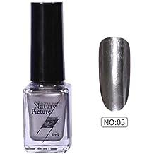 (E) - Yuan Mirror Nail Polish,Metallic Mirror Effect Stainless Steel Solid colour No sequins (E)
