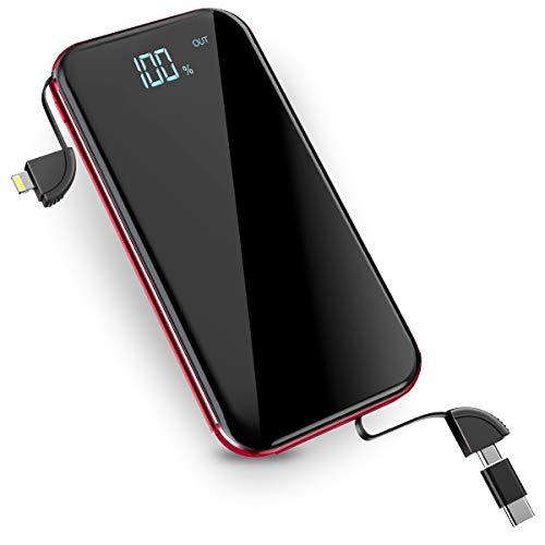 モバイルバッテリー Qi ワイヤレス充電 10000mAh 無線充電器 3 Micro-USBポート搭載 4台同時充電 無線と有線両用 TYPE-C 変換アダプターが付き iPhone X / iPhone8/8Plus / Galaxy 8/8+ 各種他対応 Lcsriya (レッド)