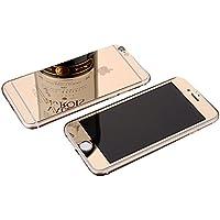 TOP FILM iphone6 5.5/4.7インチ 衝撃保護ガラスフィルム 液晶保護フィルム 鏡面ミラーキラキラ光るバックプレート前後鏡面ガラスフィルム 前後セット 0.26mm 表面硬度9H (iPhone6 plus 6s plus, ゴールド)