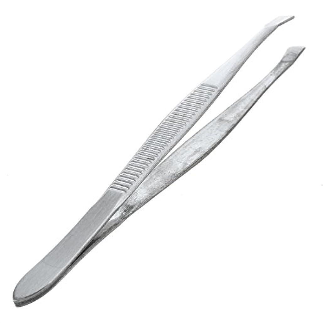 結晶愛国的なまだらACAMPTAR 眉毛ピンセット 脱毛チップ 炭素鋼 傾斜 9cm シルバーカラー