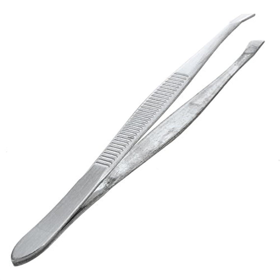 マラウイ別に取り消すACAMPTAR 眉毛ピンセット 脱毛チップ 炭素鋼 傾斜 9cm シルバーカラー