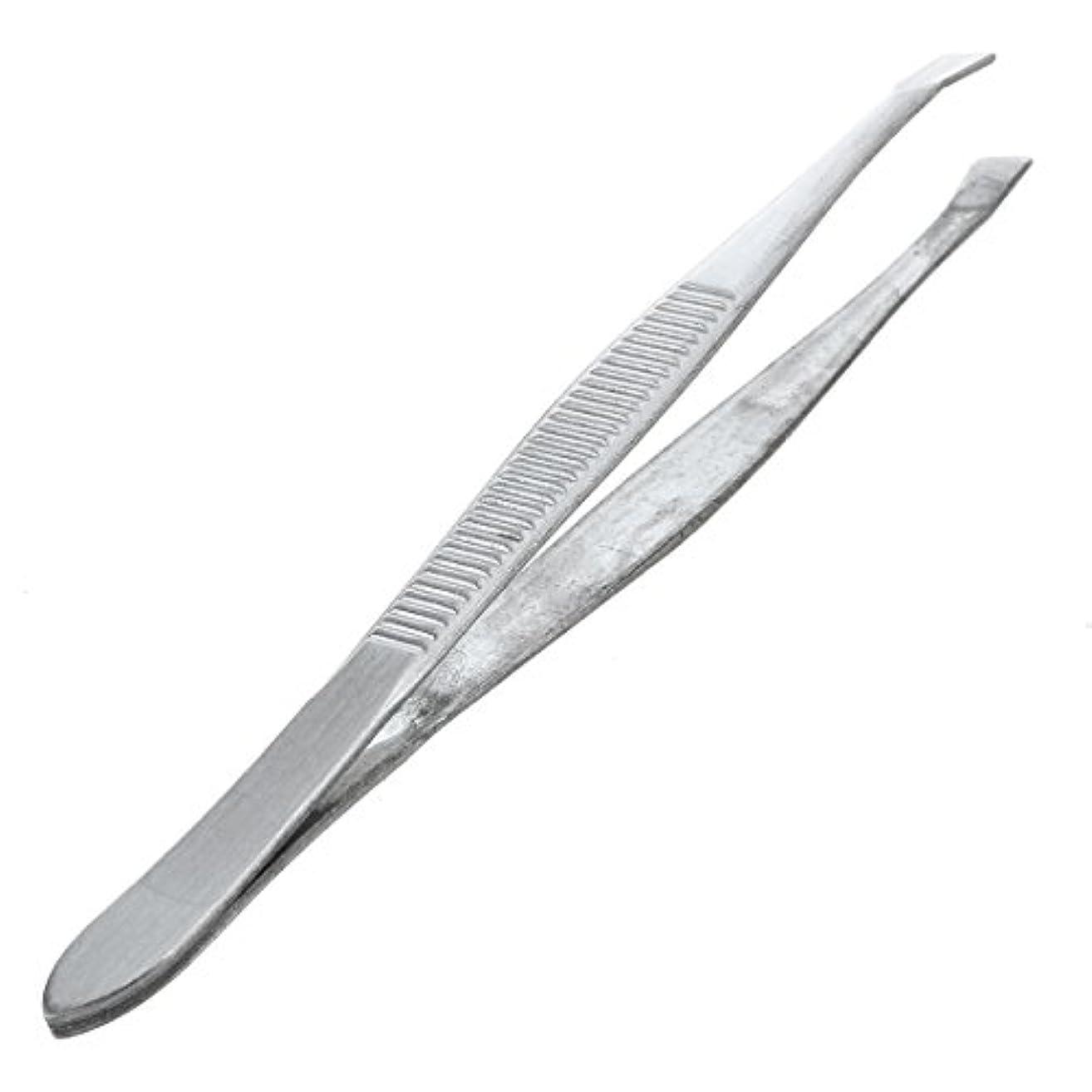 アフリカ人残る収益ACAMPTAR 眉毛ピンセット 脱毛チップ 炭素鋼 傾斜 9cm シルバーカラー