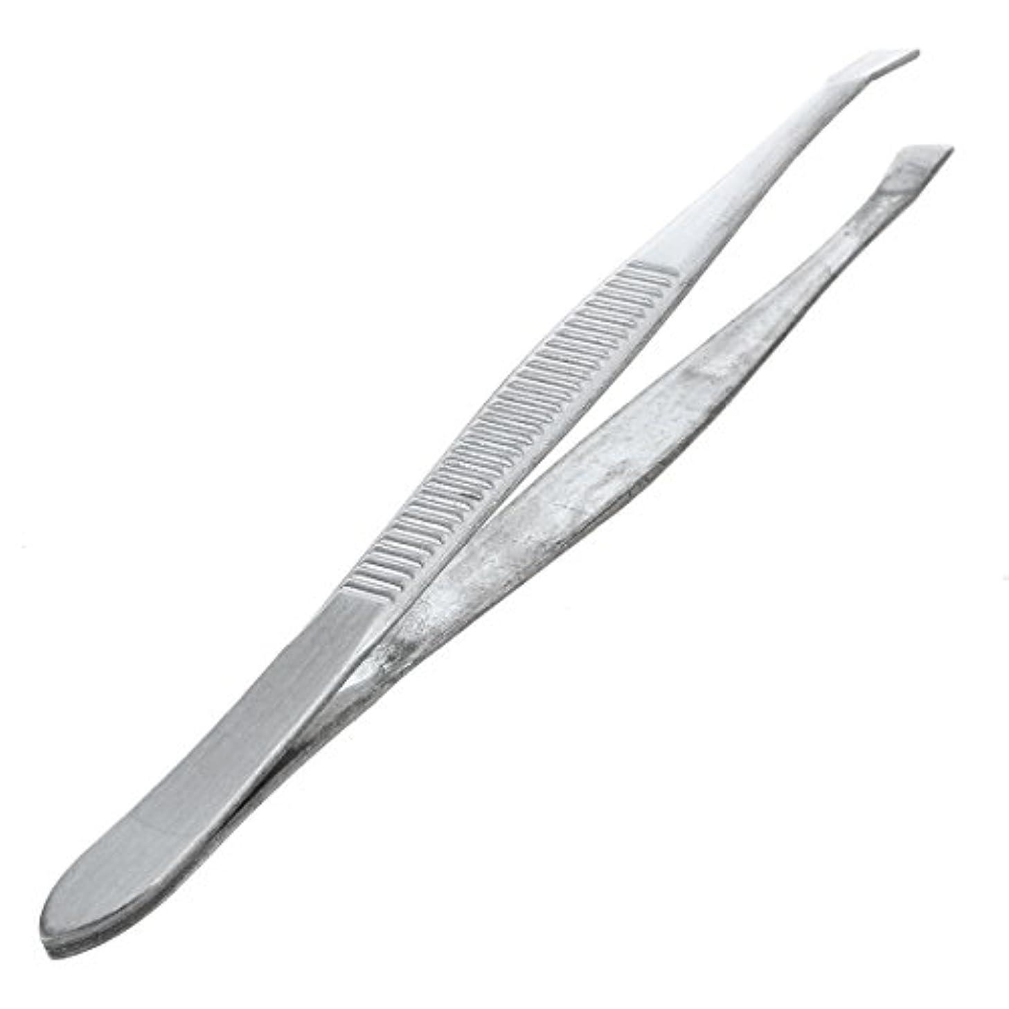 床を掃除するコンテンポラリー典型的なGaoominy 眉毛ピンセット 脱毛チップ 炭素鋼 傾斜 9cm シルバーカラー