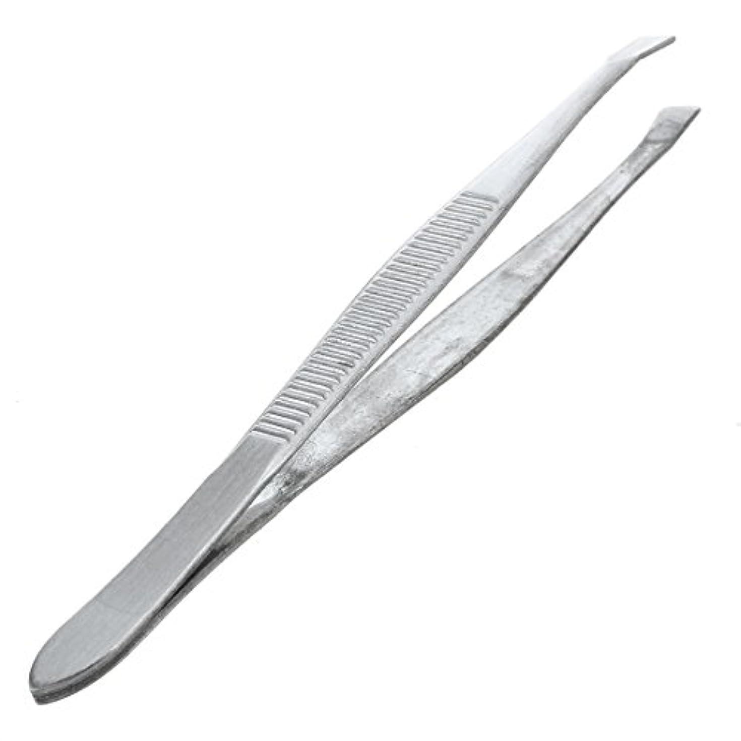 ギャングスター発行する呼び起こすACAMPTAR 眉毛ピンセット 脱毛チップ 炭素鋼 傾斜 9cm シルバーカラー