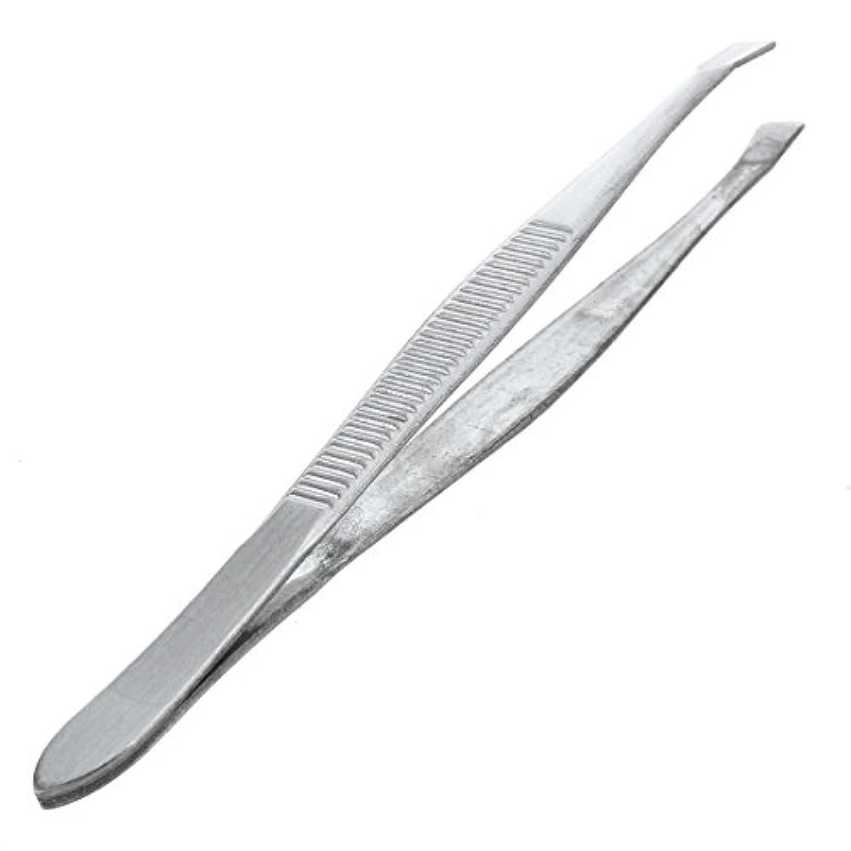 ACAMPTAR 眉毛ピンセット 脱毛チップ 炭素鋼 傾斜 9cm シルバーカラー