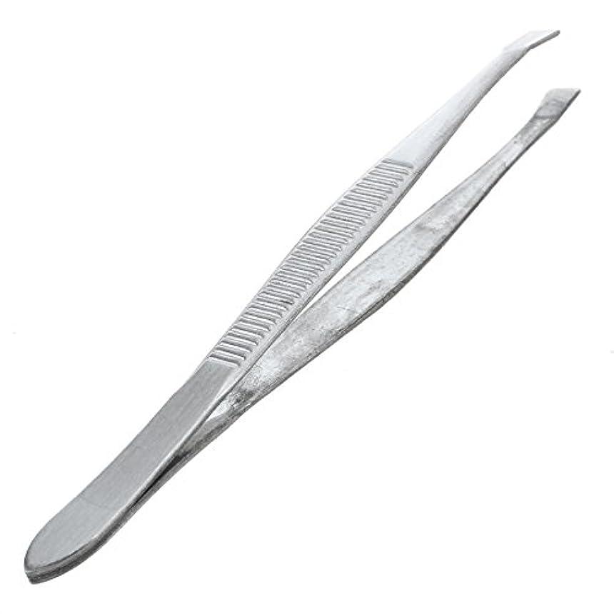 潮バン思慮のないACAMPTAR 眉毛ピンセット 脱毛チップ 炭素鋼 傾斜 9cm シルバーカラー