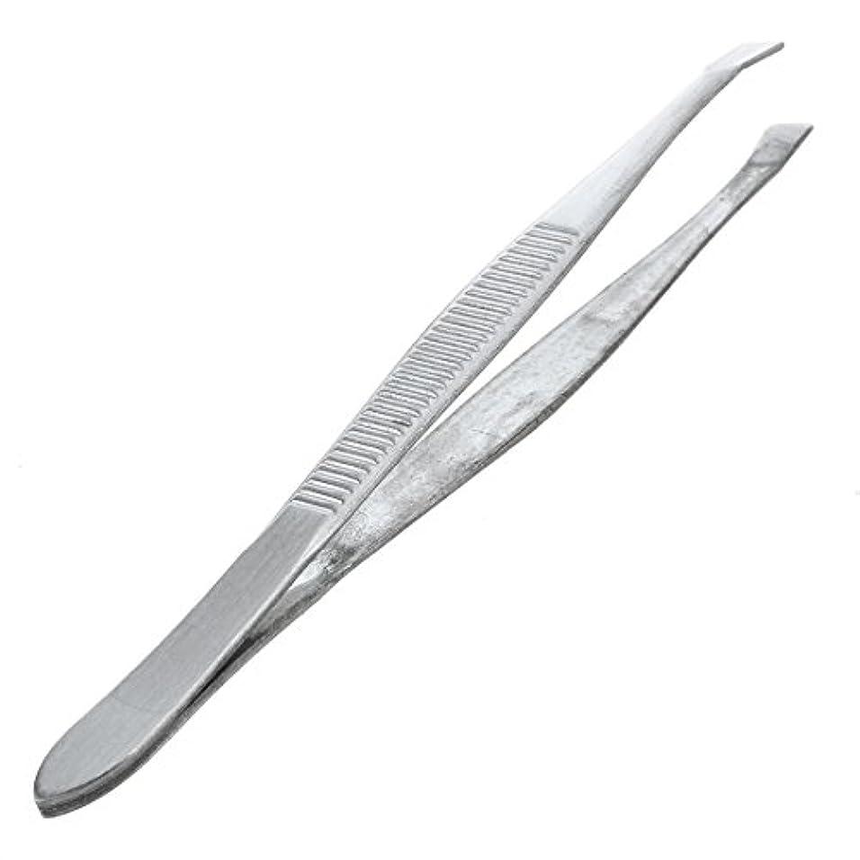 鮮やかな黒板申請中Gaoominy 眉毛ピンセット 脱毛チップ 炭素鋼 傾斜 9cm シルバーカラー