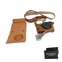 kinokoo PU Leather Camera Case for Canon g7X II with greatケースストラップ(ブラウン)