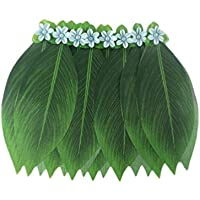 PRETYZOOM Leaf Hula Skirt Green Leaf Grass Skirt with Artificial Flowers for Luau Tropical Beach Costume Party Supplies Waist 70cm 27.5 Inches (Dark Red)