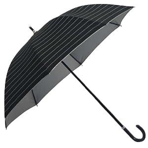 UVカット率99%生地使用 晴雨兼用傘スライド傘 黒ボーダー(裏シルバーコーティング) 6413