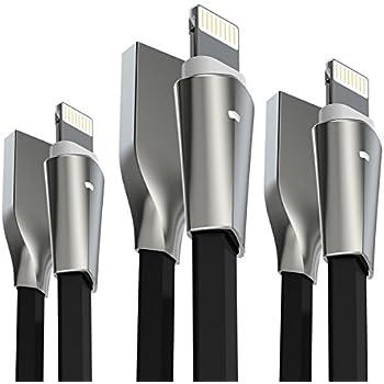 iPhone ケーブル 【3本セット 1.8M + 1.2M + 0.15M】 Aimus ライトニングケーブル LEDライト付き 高耐久 iphone コード アイフォン ケーブル iPhoneXS/iPhone XS MAX/iPhoneXR/iPhoneX / 8 / 8 Plus / 7 / 7 Plus ブラック